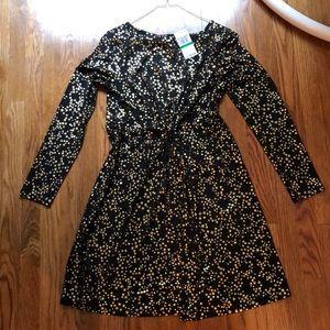 Michael Kors Black and Gold Starry Dress